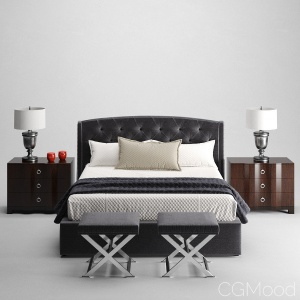 Jordan Button-Tufted Wing Bed