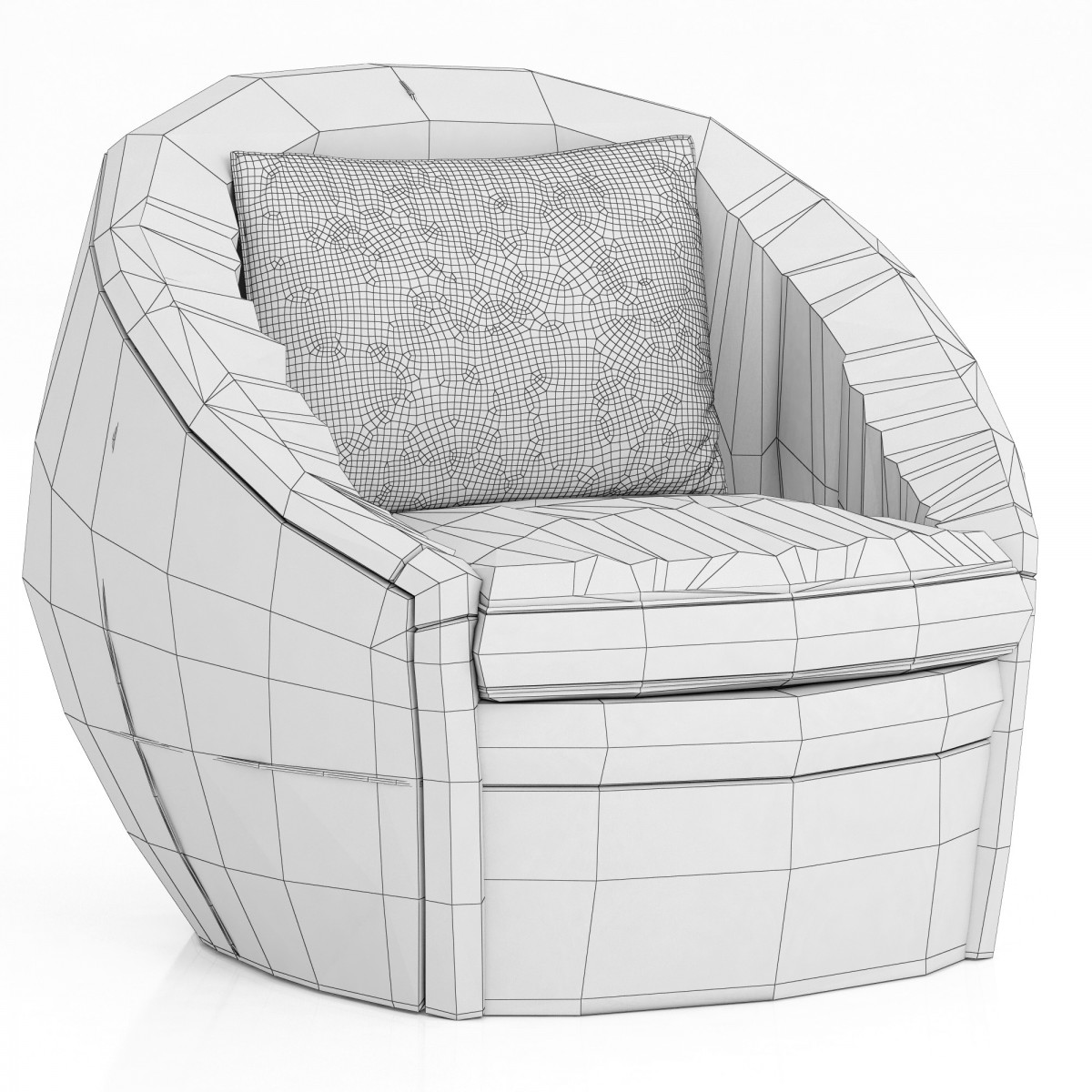 Restoration Hardware Oberon Leather Swivel Chair 3d