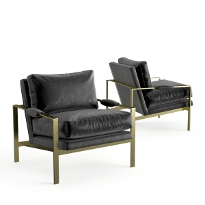Crate And Barrel Milo Baughman Leather Chair