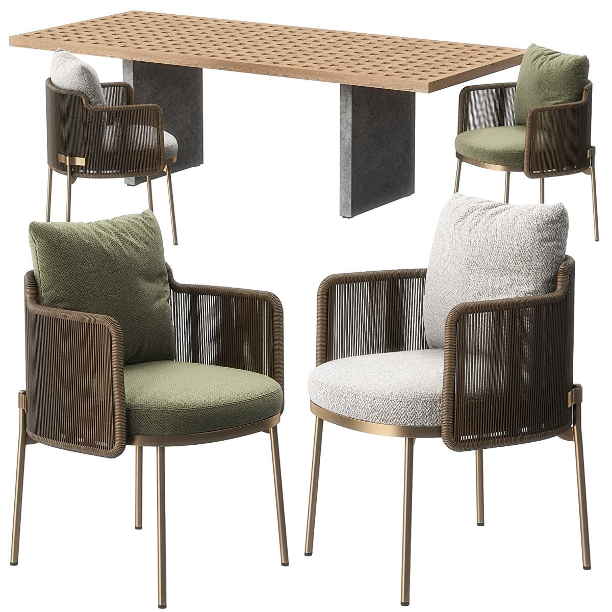 Tape Cord Outdoor Chair Quadrado Table By 3d Model For Vray