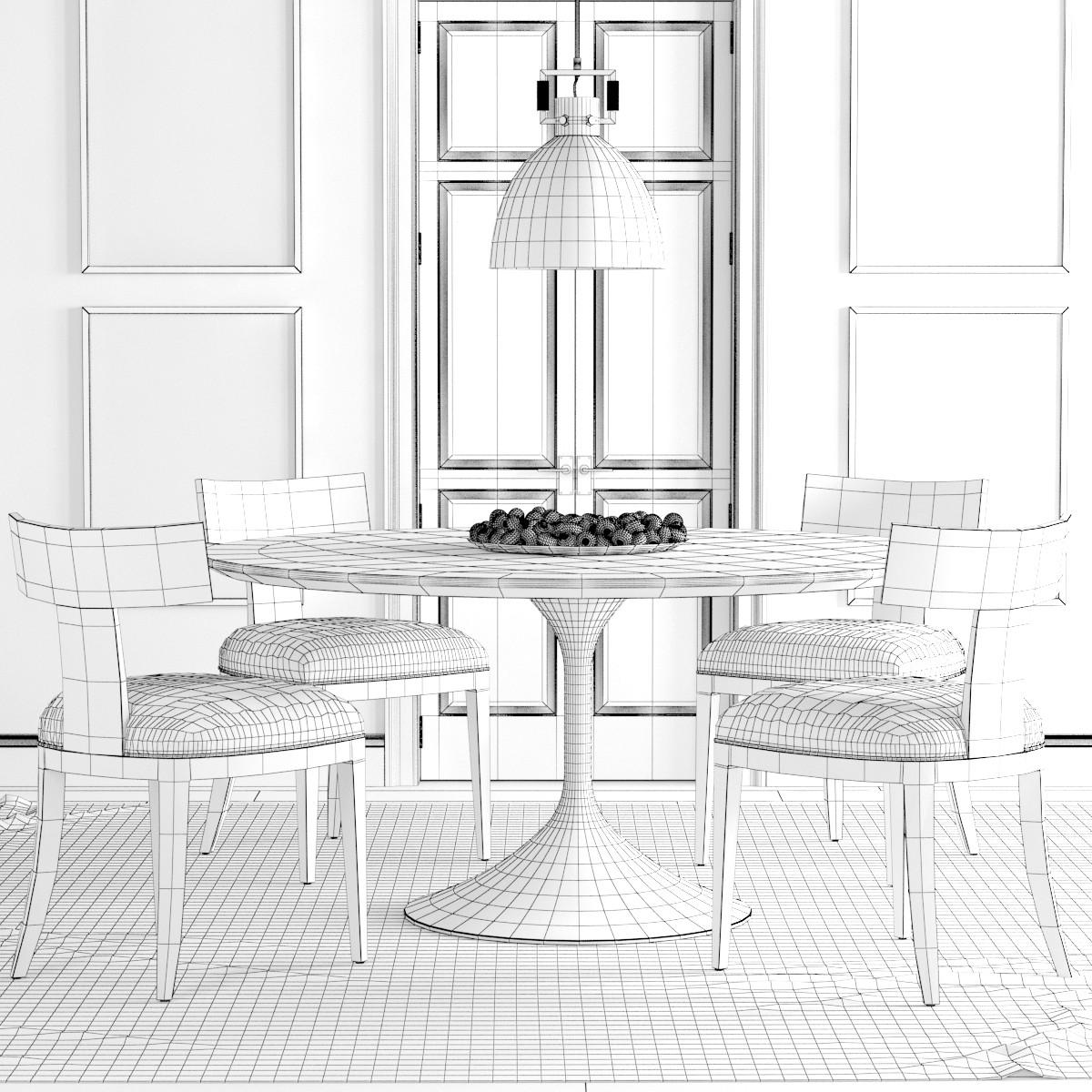 Rh Klismos Dining Set - 3D Model for VRay
