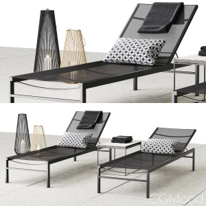 CB2 Idle Black Sun Lounger
