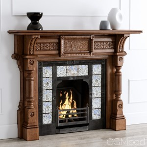 19th Century Antique Oak Fireplace
