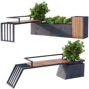 Landscape Furniture / Architecture Bench With Plan
