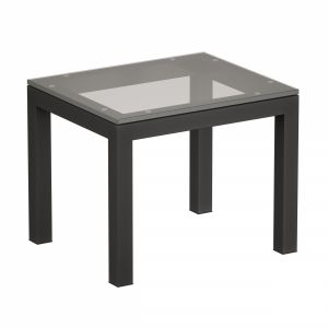 Parsons Clear Glass Top Dark Steel Base End Table