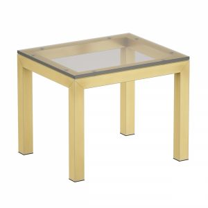 Parsons Clear Glass Top Brass Base End Table