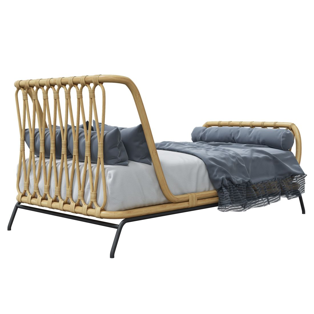 Rattan Kids Twin Bed 3d Model For Vray