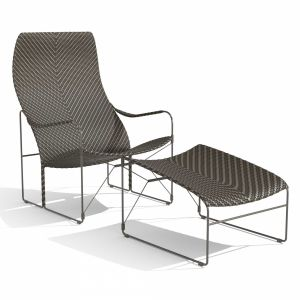 Janus Et Cie Whiskey  Garden Armchair And Footstoo