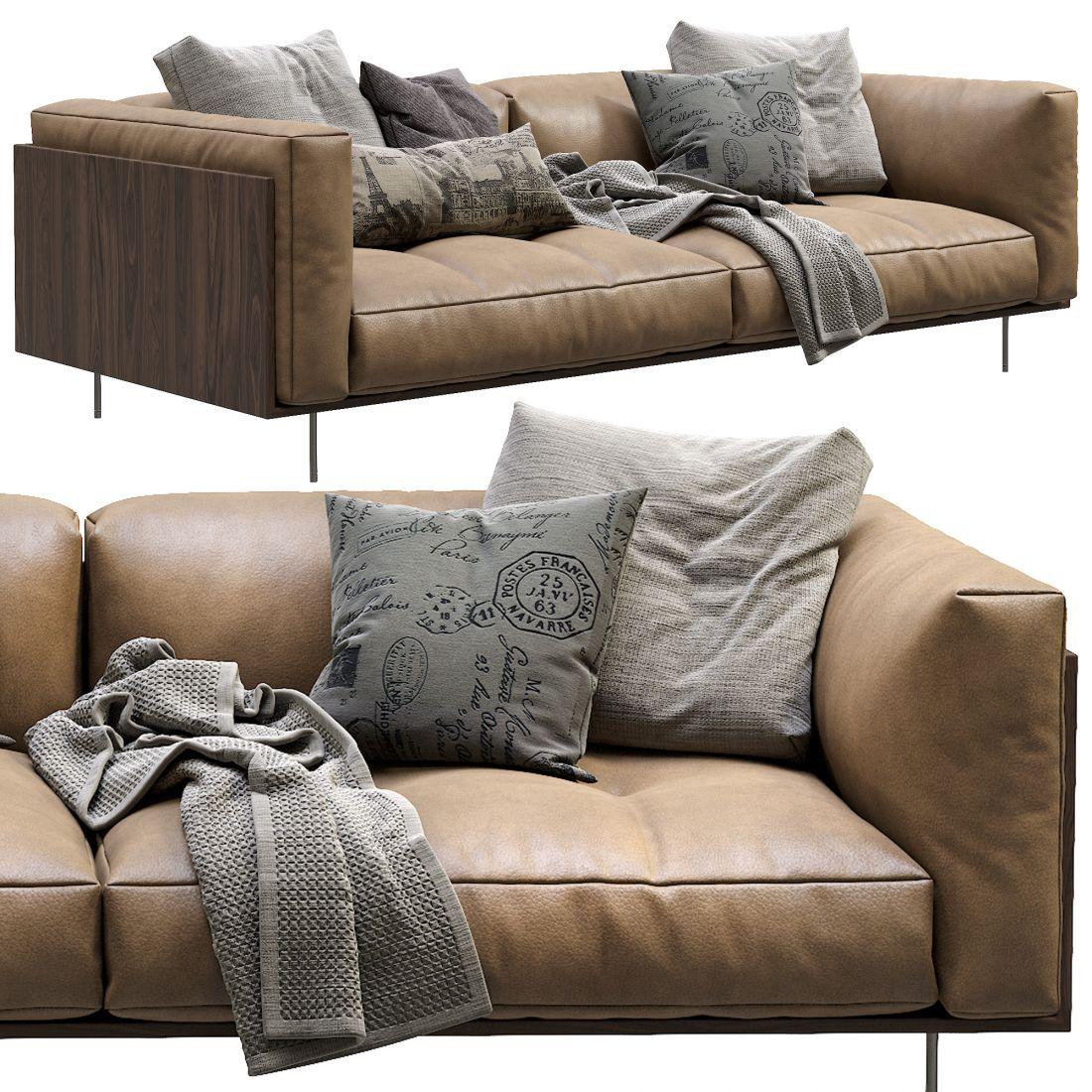 Living Divani Leather Sofa Rodwood - 3D Model for Corona