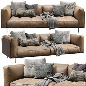 Living Divani Leather Sofa Rodwood