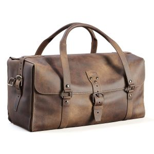 Three Strap Leather Duffle Bag
