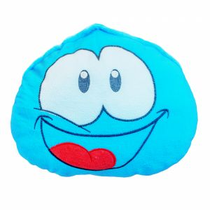 Baby Blue Pillow With Drawn Eyes And Mouth