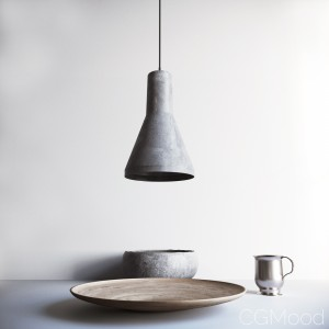 Minimal dining set with lamp
