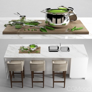 Jumbo Flame 4 Piece Cookware Set+EUL BARSTOOL bars