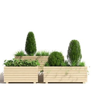 Wooden Pine Trough Planter