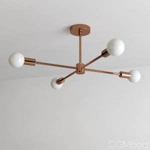 Polished Copper Modern Chandelier 4 Light