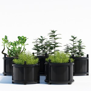 Round Versailles Planter in Black