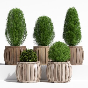 Rowlinson Marberry Wooden Ball Planter