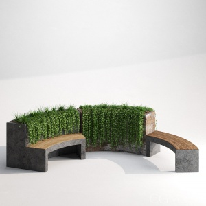 Recycled Metal Eco Friendly Curved Planter Bench
