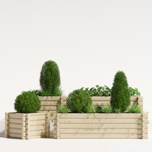 Wooden Buildround Square Planter