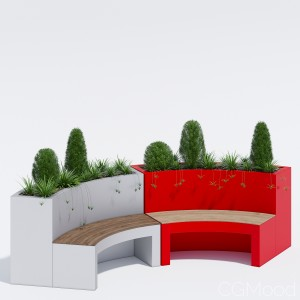 Curved Planter Bench
