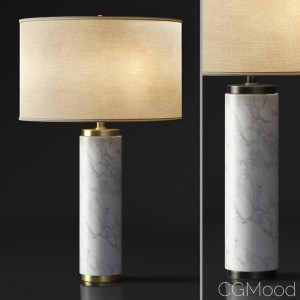 CYLINDRICAL COLUMN MARBLE TABLE LAMP