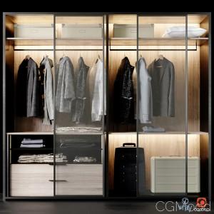 Poliform Wardrobe With Clothes Set 01