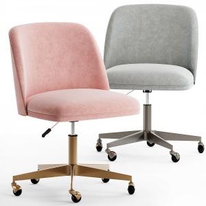 Rh ALESSA velvet desk Chair - antiqud brass