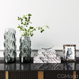 West Elm Decorative Set Olive Green Glass Vase