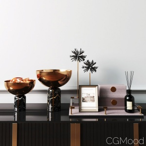 West Elm Decor Set with Brass Gold Bowl Pinecone