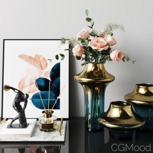 West Elm Gold Gradient Vase Rose Flower Bouquet