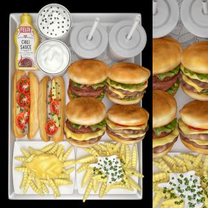 Fastfood Hamburger Set