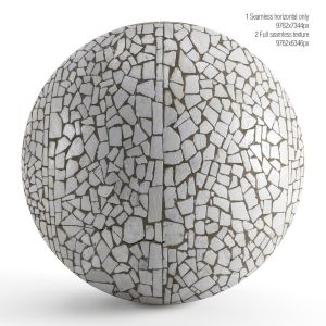 Seamless Mosaic Texture From Chipped Tiles. Pbr