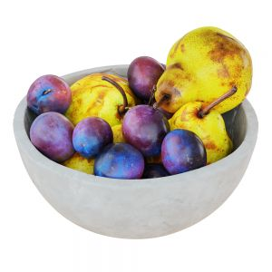 Pears And Plums In Decorative Round Vase