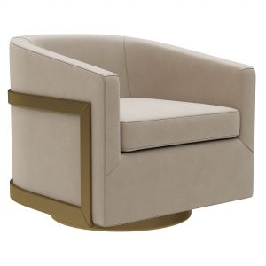 Restoration Hardware Reginald Leather Swivel Chair