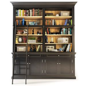 Versailles Bookcase With Ladder In Black