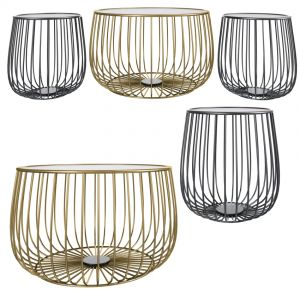 Gold Round Industrial Wire Coffee Table