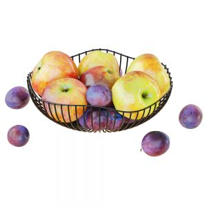 Apples And Plums In A Round Metal Vase