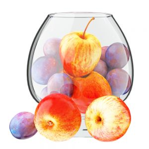 Apples And Plums In A Round Glass Vase