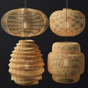Rattan Lighting Set 2