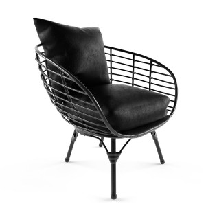 Black All Weather Wicker Chair Model Tube
