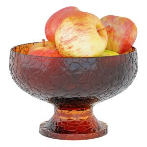 Apples In Colored Glass Round Vase