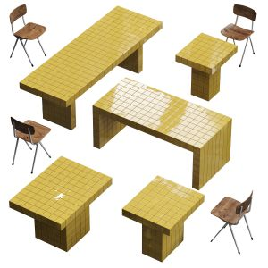 Lalume Chair And Tiled Tables