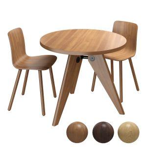 Vitra Gueridon Table & Vitra Hal Ply Wood Chair