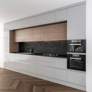 Kitchen Modern Gray And Wood