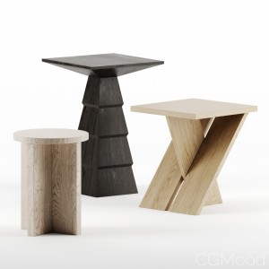 Side tables set by Atelier de Troupe