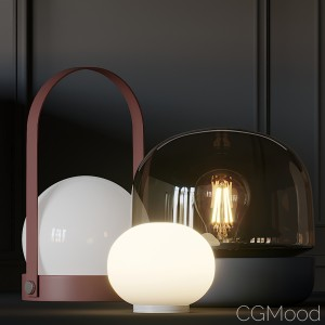 Carrie, Stone And Mini Glo-ball T Table Lamps