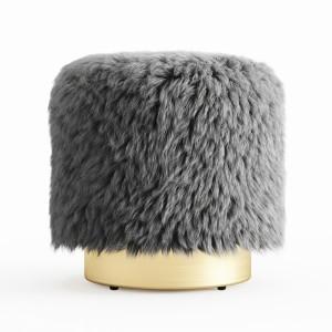 Fur Round Pouf