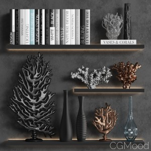 Decorative Set Of Coral Books And Vases
