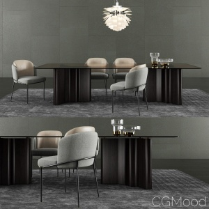 Minotti Lou Dining Table & Fil Noir Dining Chair